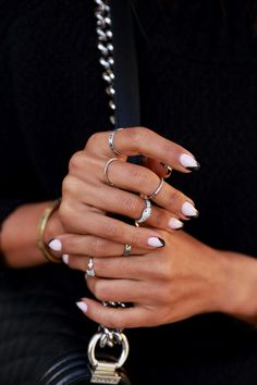 Layered silver rings #ManiMonday #Nails