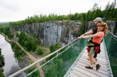 Soar high over Eagle Canyon in Ontario's Thunder Bay. Photo by the City of Thunder Bay. Oh The Places You'll Go, Places To Travel, Places To Visit, Thunder Bay Canada, Voyage Canada, Ontario Travel, Canadian Travel, Suspension Bridge, Outdoor Photos