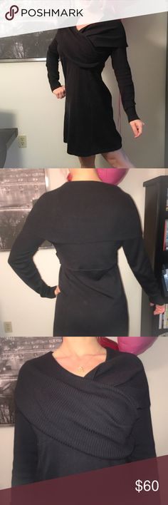 """Athleta Organic Cotton Sochi Black Dress Super comfortable. Worn and washed once. Just a little too large for my frame (should have got a small). Last picture is to show the way it is suppose to fit. All other pictures are of the actual dress. Black mid weight sweater dress with an asymmetrical ribbed shawl collar, hidden zip pocket, and empire waist. 38"""" long from shoulder to hem. 92% organic cotton and 8% wool. Machine wash and lay flat to dry. I'm only looking to sell at this time so…"""