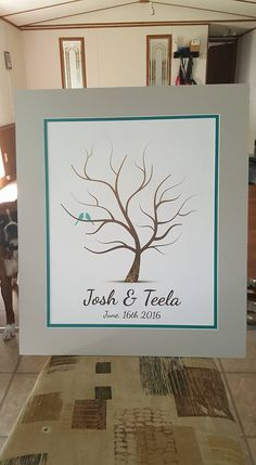 Whimwik Thumbprint Wedding Tree | Guest Book Alternative | Rustic Wedding | Customer Photo | Wedding Color - Teal | peachwik.com