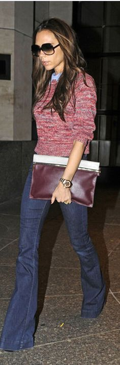 Sweater and top - Carven Watch - Rolex Jeans - J Brand Purse - Victoria Beckham Victoria Beckham bi-colour clutch Victoria Beckham SMALL ZIP LEATHER CLUTCH similar style jeans by the same designer J BRAND Denim pants