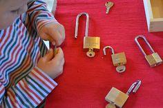 Locks via My Montessori Preschool: Normalization Preschool Centers, Montessori Preschool, Montessori Education, Preschool Learning Activities, Montessori Materials, Kids Education, Preschool Activities, Winter Activities, Reggio