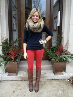 Such a cute look for winter! Fur, colored jeans, a sweater and boots. Warm, practical and awesome.
