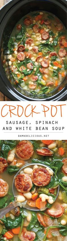 Slow Cooker Sausage, Spinach and White Bean Soup - So hearty, so comforting, and so easy to make right in the crock-pot with just 10 min prep. Easy peasy! This would be yummy with chickpeas instead of beans!
