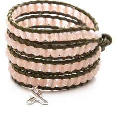Chan Luu Breast Cancer Awareness Beaded Wrap Bracelet ($76) ❤ liked on Polyvore featuring jewelry, bracelets, accessories, pulseiras, pink ribbon jewelry, clasp charms, green charm, adjustable bangle and bead charms