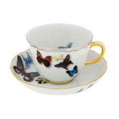 Bring high fashion to tea time with this beautiful Butterfly Parade tea cup & saucer from the Christian Lacroix Tales of Porcelain collection. Created in partnership with prestigious porcelain make. Christian Lacroix, Tea Cup Saucer, Tea Cups, Bright White Background, Butterfly Decorations, Antique China, Fine Porcelain, Mug Cup, Coffee Cup