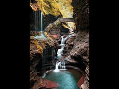 Watkins Glen State Park is the most famous of the Finger Lakes State Parks, with a reputation for leaving visitors spellbound. It is miles of natural beauty, waterfalls and gorges that words cannot do justice. You have to go and see this natural marvel. Places Around The World, The Places Youll Go, Places To See, Around The Worlds, State Parks, Watkins Glen State Park, Adventure Is Out There, Beautiful Landscapes, Beautiful Waterfalls