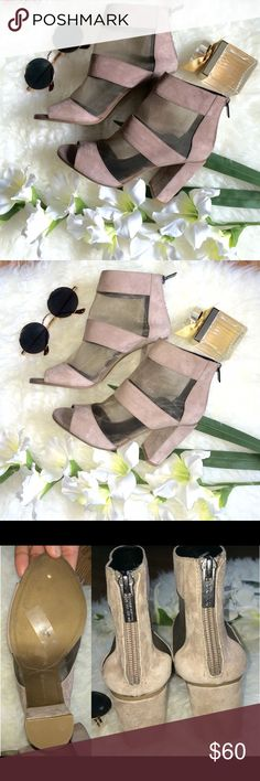 """NEW Faux Suede & Mesh Booties light tan color • faux suede striped with mesh • size 6 • zipper closure at the back • 3"""" + heel height • new with store label on sole • some small spots that are visible only closeup Shoes Ankle Boots & Booties"""