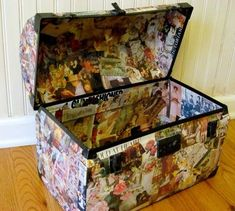 Mod Podge Monday: Decoupaged Vintage Trunk, my Goodwill Treasure! - A Creative Life Decoupage Suitcase, Decoupage Vintage, Decoupage Art, Mod Podge Crafts, Fun Crafts, Arts And Crafts, World Travel Decor, Vintage Trunks, Collage