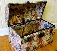 Mod Podge Monday: Decoupaged Vintage Trunk, my Goodwill Treasure! - A Creative Life Mod Podge Crafts, Fun Crafts, Arts And Crafts, Decoupage Suitcase, Decoupage Art, World Travel Decor, Vintage Trunks, Collage, Christmas Diy