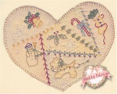 Vintage Heart Ornament - Beginner Embroidery Stitches - Embroidered Heart Pattern - Chickadee Hollow Designs - DIY Christmas Ornament - Easy Embroidery Projects - Handmade Gift Pattern - Shabby Fabrics
