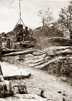 You are viewing an important image of Chattanooga, Tennessee (vicinity). Tripod signal erected by Capts. Dorr and Donn of U.S. Coast Survey at Pulpit Rock on Lookout Mountain. It was taken in 1864.