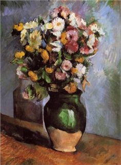 Flowers in an Olive Jar - Paul Cezanne. I like this one because of the vase. I got a bouquet of flowers with a vase very simular to this, except the top part.