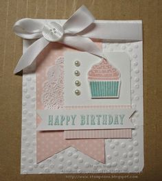 Stampin' Scrappin' with Stasia: Happy Cupcake Birthday Birthday Cards For Women, Happy Birthday Cards, Birthday Cupcakes, Cupcake Party, Bday Cards, Cardmaking And Papercraft, Card Sketches, Paper Cards, Cool Cards