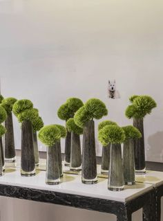 Green Trick in modern vases