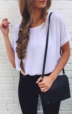 Casual look | Fishtail braid, white loose shirt and black pants...