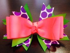 A large 5 inch hot pink hair bow with purple by BrinleysBowtique32, $6.00