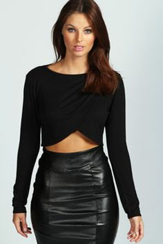 Julia Cross Over Long Sleeve Crop Top at boohoo.com - this would need a tank under it