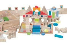 Treasures Building Blocks. Beautiful wooden, gem and mirrored pieces.