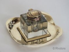 Glass Inkwell With Art Nouveau Lid & Pierced Brass Stand