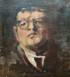 """Vintage two sided oil on board portrait. Side one of two. 13""""w x 15""""h SOLD"""