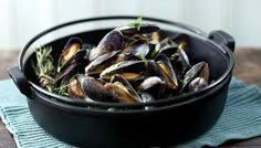 Moules marinière with cream, garlic and parsley