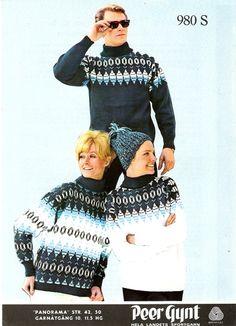 "980 S, Peer Gynt fra Sandnes Uldvarefabrik, Sandnes. ""PANORAMA"" Christmas Jumpers, Christmas Sweaters, Norwegian Knitting, Vintage Knitting, Festival Wear, Color Combinations, Vintage Christmas, Knitwear, Knitting Patterns"