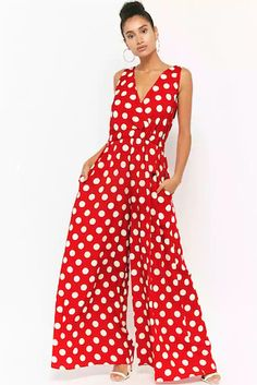 Product Name:Polka Dot Surplice Jumpsuit, Category:dress, Day Jumpsuits, Jumpsuits For Women, Look Fashion, Fashion Outfits, Womens Fashion, Como Fazer Short, Cool Outfits, Casual Outfits, How To Wear Scarves