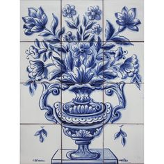 Portuguese Tiles Panel Mural DELFT BLUE FLOWERS VASE