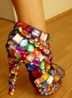 """Bejewelled boots - You could do this with scuffed or worn shoes or boots and give them new life! I am seeing a """"decorate the shoes"""" contest coming! Crazy Shoes, Me Too Shoes, Weird Shoes, Funny Shoes, Dream Shoes, Ghetto Fabulous, Colorful Heels, Shoe Art, All That Glitters"""