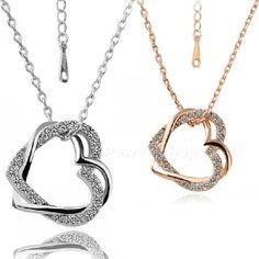 Double Heart Pendant Wrapped Necklace Fashion Lady Gift Present PSHG | eBay