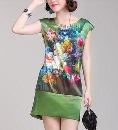 Green Flowers Land Silk Dress-zeniche.com SKU aa0074