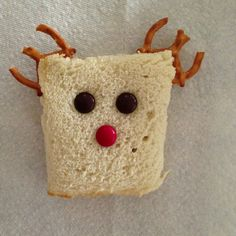 Peanut butter reindeer sandwich with m and pretzels