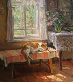 Marina Chulovich ( — Cat asleep in front of Window in a Cottage, 2000 Art And Illustration, Cat Drawing, Painting & Drawing, Cat Sketch, Guache, Arte Popular, Russian Art, Animal Paintings, Beautiful Paintings