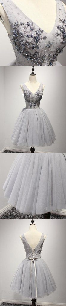 Grey V Neckline Short 2017 Homecoming Prom Dresses, Short Party Prom Dresses, Perfect Homecoming Dresses