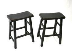 """Set of 2 Heavy Duty Saddle Seat Bar Stools Counter Stools - 24"""" Black"""
