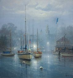 The Slip of Dawn by artist G. Harvey is just one of the many discounted limited edition fine art prints and canvases for sale at Christ-Centered Art. G Harvey, Boat Art, Illustrations, Beautiful Paintings, Amazing Artwork, Art Photography, Images, Gallery, Pictures