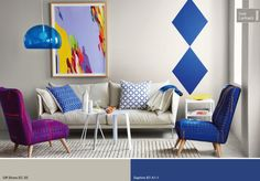 Plascon Colour Forecast 2015 - geometric pattern effects with the Vivid Expression Palette Colorful Decor, Colorful Interiors, Blue Interiors, Home Living Room, Living Room Decor, Plascon Colours, 2015 Color Trends, Yellow Paint Colors, London Design Festival