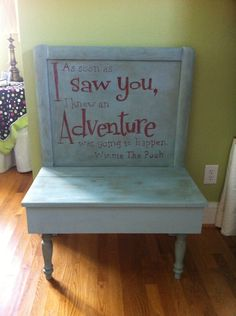 Baby crib back turned into a bench then painted with Duck Egg Blue, Annie Sloan Chalk Paint, with dark wax.  Words with Primer Red