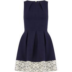 Closet Navy contrast hem pleat dress ($69) ❤ liked on Polyvore featuring dresses, vestidos, blue, vestiti, blue fit-and-flare dresses, lace fit-and-flare dresses, navy lace dress, navy blue lace dress and lace dress