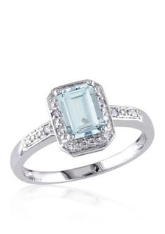 Belk  Co.  Sterling Silver Aquamarine and Diamond Ring