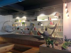 The elevated library is not just a design focus, but an easy and comfortable place for informal discussions.