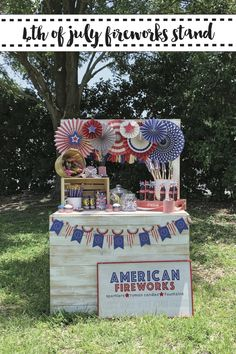 Host a Fourth of July party with a vintage style Fireworks Stand with inspiration from Everyday Party Magazine #sponsored @mymindseyeinc #FourthOfJuly #VintageFourthOfJuly #Fireworks
