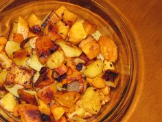 Roasted Root Vegetables: Toss white and sweet potatoes, onions, and carrots with a little olive oil, garlic, salt, pepper, and smoked paprika. Roast spread out on baking sheet at 450 degrees for about 40 minutes or until their natural sugars come out to caramelize the vegetables. Yum!