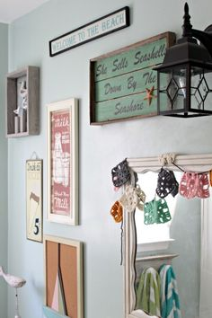 Loving the granny square garland across the mirror. via Living With Kids: Tracey Willey