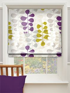 Blooming Meadow Faux Silk Amethyst Roman Blind from Blinds 2go