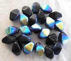 Ten 16 x 13mm opaque jet black AB glass by GloriousGlassBeads