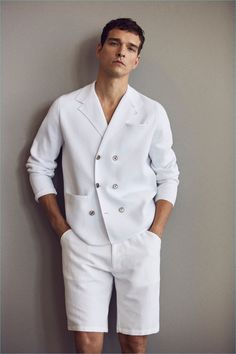 Alexandre Cunha dons an all-white look from Massimo Dutti.