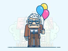 Old man bubbles  character  father  grandfather  house  icon  illustration  man  movie  old  oldman  up