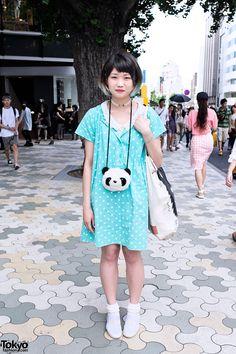 Polka dots & panda in harajuku street style. Japanese Street Fashion, Tokyo Fashion, Harajuku Fashion, Korean Fashion, Harajuku Style, Japanese Streets, Kawaii, Neko, Tokyo Street Style